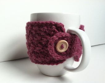 Crochet Coffee Cup Cozy-Raspberry Gift Under 10 Eco Friendly Gift For Girlfriend Coffee Lover Stocking Stuffer Hot Cocoa Cozy Gift For Her