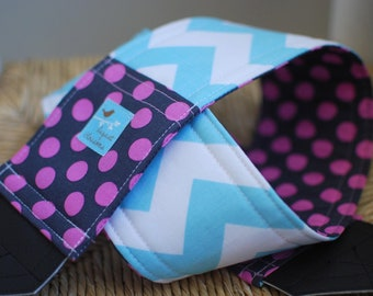 Camera Strap Aqua Chevron and Grape Dot, Reversible, Built in Lens Cap Pocket