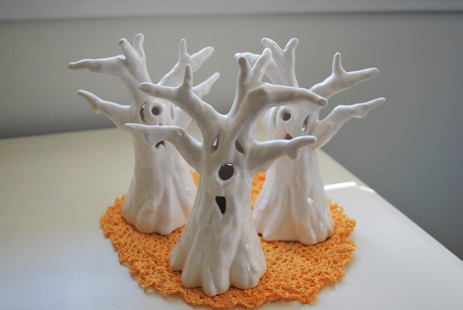 spooky ghost halloween trees in ceramic white  on sale