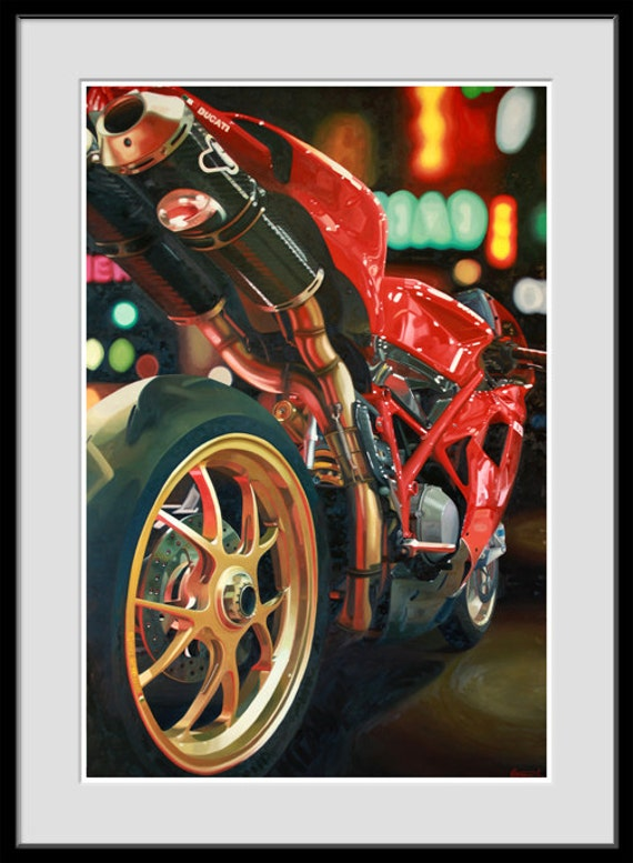 Items similar to giclee print of motorcycle oil painting for How much to paint a motorcycle