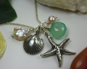 Free Shipping in US - SEA STORY With a Chalcedony Teardrop ... Necklace -  Winter Holidays, Christmas gift idea