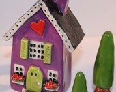 Clay House Heart Home in Purple and lime green