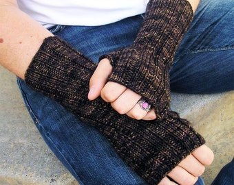 Outlander Style Men's Fingerless Gloves, Hand Arm Warmers, Washable Merino Wool, Chocolate Brown, Made to Order