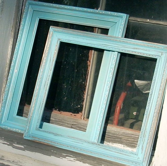 Distressed Teal Wood Frames Painted Two Wall By Westbrookfarm