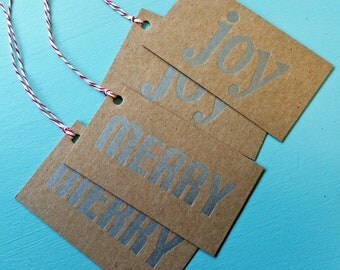 Silver merry / joy letterpress on chipboard gift tags - 4 pack