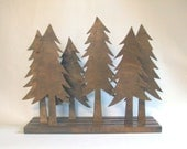 Pine Tree Forest Sculpture Art Wood Rustic Home Decor