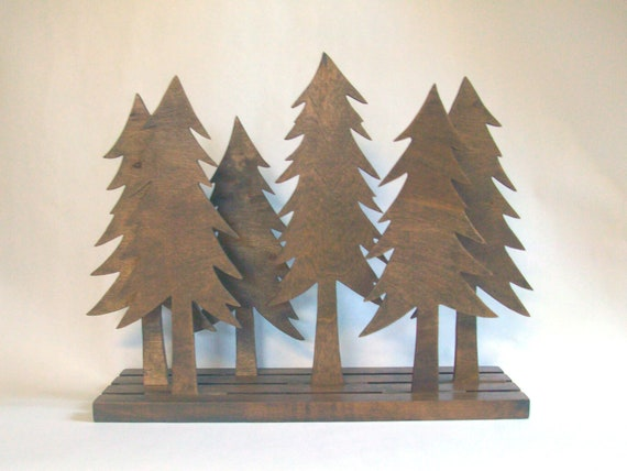 Pine Tree Forest Sculpture Art Wood Rustic Home By Elwoodworks