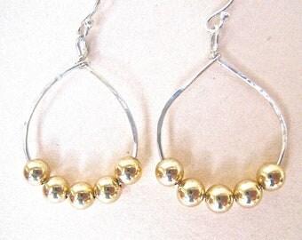 Sterling Silver Hoops, 14K Gold Beaded Hoop Earrings, Silver and Gold Mixed Metal Earrings