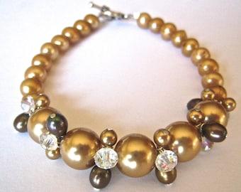 Pearl Bracelet Champagne Pearls Crystal, Platinum Pearls, Crystal Bracelet