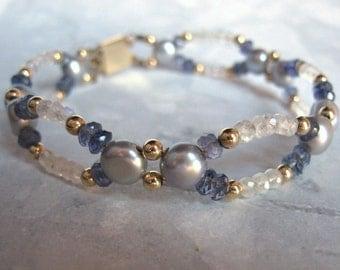 Scalloped Gemstone Bracelet- Moonstone, Iolite, Pearl, Gold Filled, Double Strand