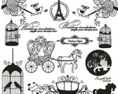 Iron On Transfer (M) - French Style Carriage Rose Floral Eiffel Tower Bird Birdcage