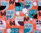 SALE Clearance 1 Yard Owl Collection, Blue Floral Owl On Orange -Cotton Fabric