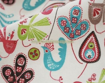 SALE Clearance Love of Nature, Beautiful Paisley Peacock Birds Garden- Flannel Fabric (1/2 Yard)