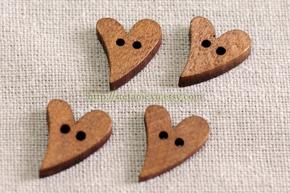 Wooden Buttons, Painted Color - Heart (4 in a set)