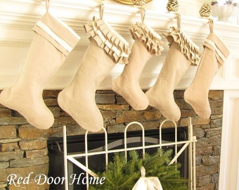 Linen Christmas Stocking Ruffle Top Better Homes and Gardens
