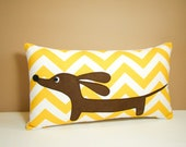 Dachshund Pillow - Doxie Sunshine Chevron Curry White Decorative Pillow