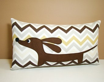 Dachshund Wiener Dog Pillow - Doxie Natural Chevron - Modern Home Decor