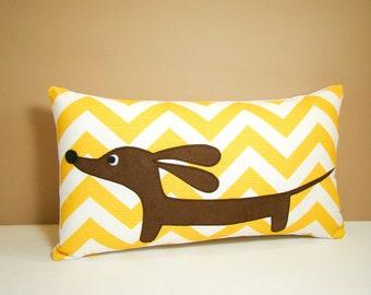 Dachshund Pillow - Doxie Sunshine Chevron Curry White Decorative Pillow