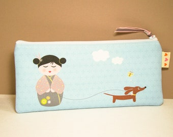 Kokeshi and Dachshund Pencil Case - Modern Blue Gadget Pouch - Womens Accessory