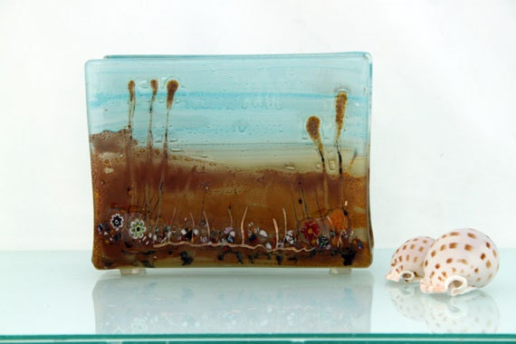 Fused Glass napkin holder ,Earth Tone landscape