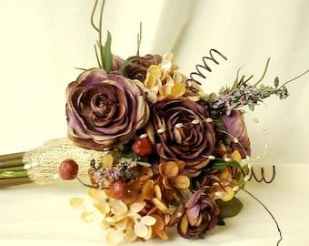 Autumn bridal bouquet woodland Wedding accessories Rustic chic AmoreBride original Silk bokay Idea design Plums Browns Gold Fall Winter