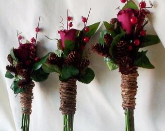 Winter Bridal accessory silk wedding flowers bridesmaid bouquets, boutonnieres 6 piece set Rustic Chic Bridal bokay pine cones Rust Burgundy