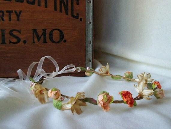 Wedding Hair Accessories bridal Flower Crown peach floral headband Woodland Hair wreath Circlet bride headpiece orange champagne Halo