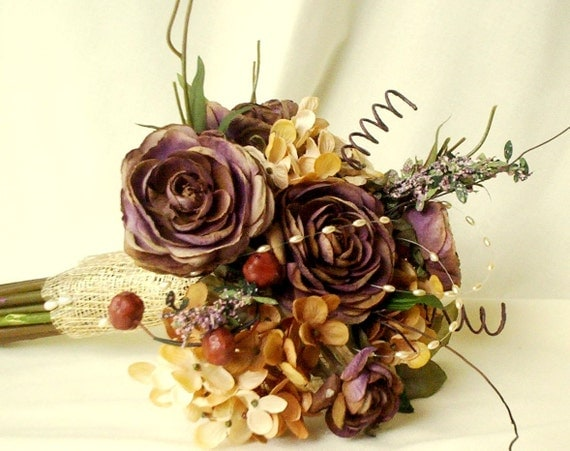 Autumn bridal bouquet woodland Wedding accessories Rustic chic AmoreBride original Silk bokay Idea design Plums Browns Gold Fall Winter