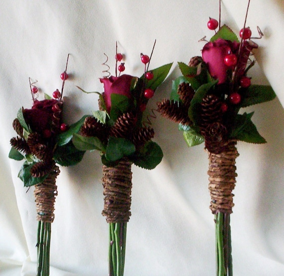 Winter Bridal accessory silk wedding flowers bridesmaid bouquets, boutonnieres 6 piece set Rustic Chic Bridal bokay pine cones Rust Burgundy