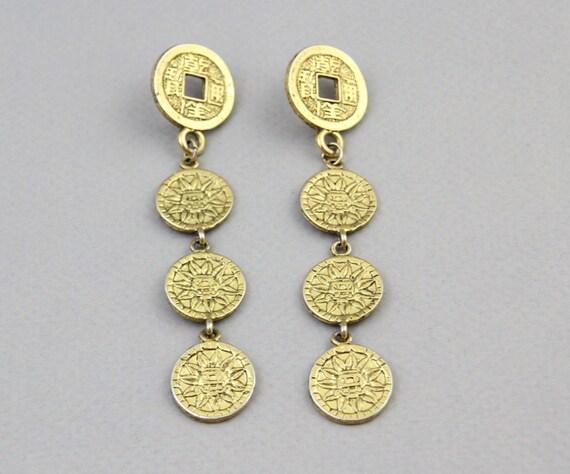 1980s COIN EARRINGS /  Mayan Sun Golden Coin Earrings