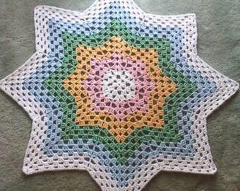 Crocheted Grany Ripple Star Baby Afghan Stroller Blanket - Pastel Rainbow