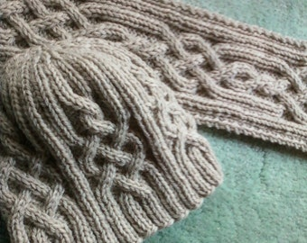 Snowtracks Cable Knit Hat and Scarf Set - Made To Order