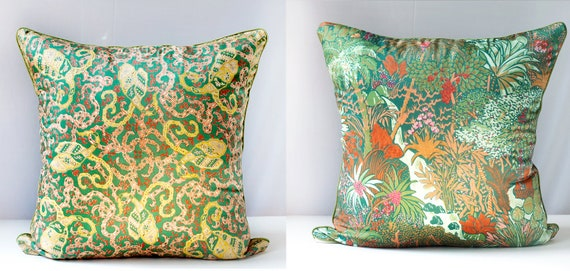Pillow Cover Liberty of London Vintage Scarf Silk & Jungle Print Decorative Throw Cushion Cover 21x21, OOAK Upcycled Eco Chic, holiday gift