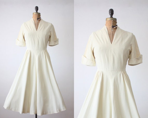 1950s dress - white cocktail party dress