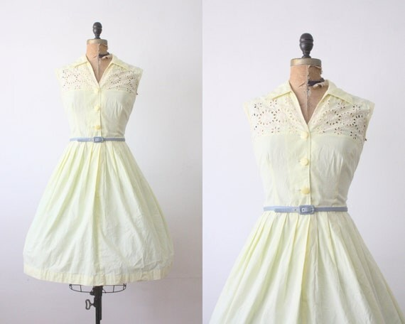 1950s dress- 50s yellow eyelet party dress