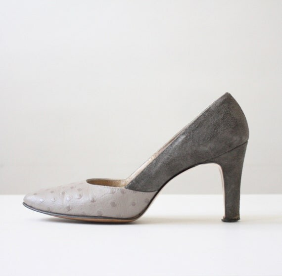vintage 1950's suede and ostrich pumps size 7 1/2