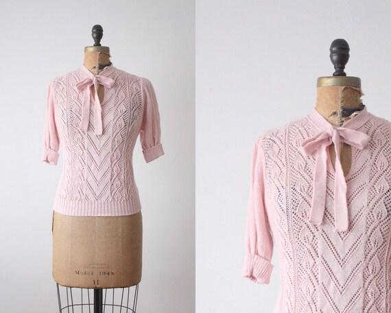 1970's blush eyelet secretary blouse