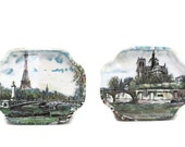 CLEARANCE - Vintage Set of Two French Metal Mini Trays - Eiffel Tower / Notre Dame Paris France - Made in England