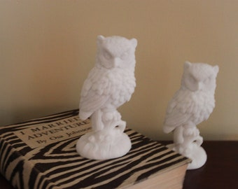 CLEARANCE - Vintage Pair of White Owls by A. Santini - Made in Italy