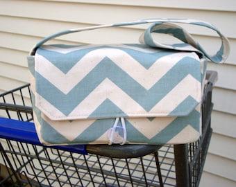 Medium Coupon Organizer /Budget Organizer Holder- Blue Natural Chevron / Zig Zag- Duck Fabric
