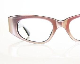 Vintage 1960s Eyeglasses Pink Pearlescent Cat Eye Glasses Sunglasses Optical Frames 1950s 50s Fifties Mad Men Pastel Lilac