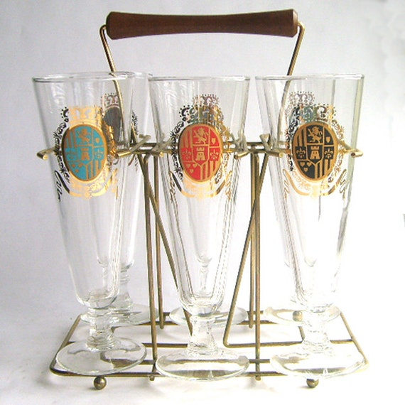 Set of Six Gold Highball Glasses In Caddy