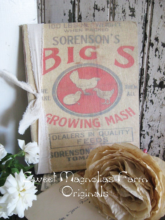 Vintage Feedsack Journal - Big S Growing Mash - Chickens - Farmhouse Chic - Perfection for Scrapbook or Bible Journal or Wedding Guest Book
