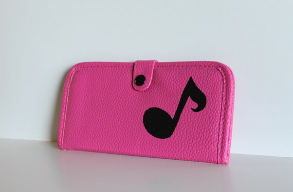 Play - HOT PINK wallet with hand painted music note