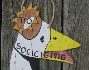 No Soliciting Sign Garfield Goose - Hand Painted Wood