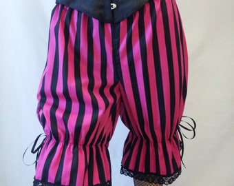 size UK 12 / US 8 pink and black stripe bloomers