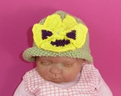 Instant Digital File pdf download knitting pattern-not the hat- Baby Pansy Flower Summer Hat Knitting Pattern