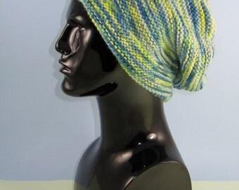 Instant Digital File pdf download knitting pattern - Chunky Self Striping garter Stitch Slouch  pdf download knitting pattern