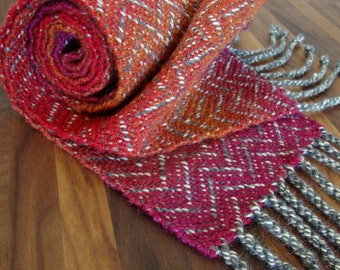 Handwoven Fuchsia, Red, and Orange Chevron Scarf