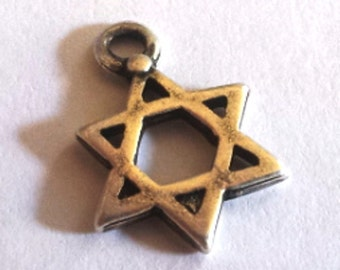 Lot 10 Israeli star of David  charms for making jewelry antique silver plated. Made in Israel jewelry parts.